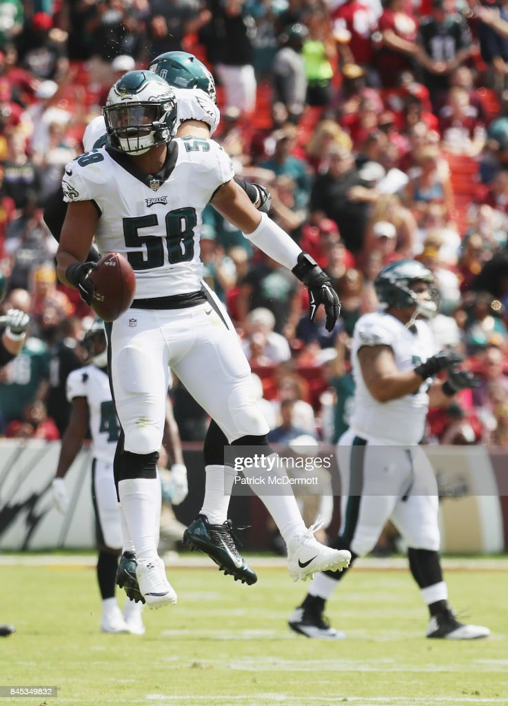 Jordan Hicks #58 of the Philadelphia Eagles celebrates against the Washington Redskins in the second quarter at FedExField on September 10, 2017 in Landover, Maryland.