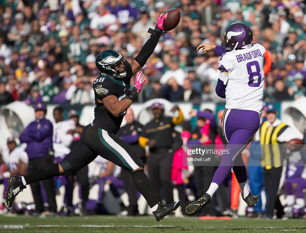 Jordan Hicks #58 of the Philadelphia Eagles knocks down a pass thrown by Sam Bradford #8 of the Minnesota Vikings in the third quarter at Lincoln Financial Field on October 23, 2016 in Philadelphia, Pennsylvania. The Eagles defeated the Vikings 21-10.