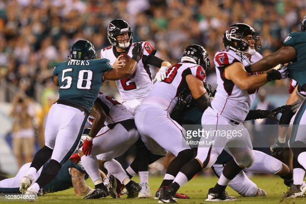 Jordan Hicks of the Philadelphia Eagles sacks Matt Ryan of the Atlanta Falcons during the second quarter at Lincoln Financial Field on September 6...