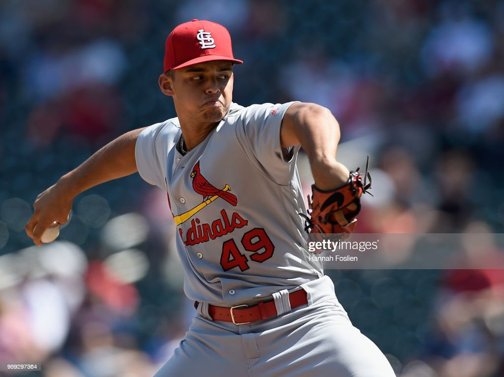 Jordan Hicks #49 of the St. Louis Cardinals delivers a pitch against the Minnesota Twins during the seventh inning of the interleague game on May 16, 2018 at Target Field in Minneapolis, Minnesota. The Cardinals defeated the Twins 7-5.