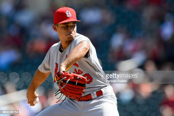 Jordan Hicks of the St Louis Cardinals delivers a pitch against the Minnesota Twins during the game during the interleague game on May 16 2018 at...