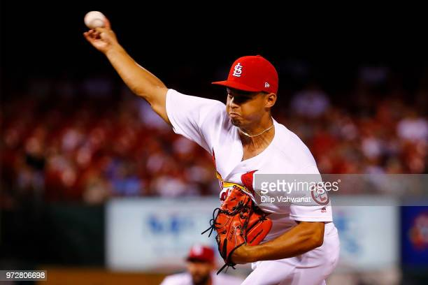 Jordan Hicks of the St Louis Cardinals delivers a pitch against the San Diego Padres in the eighth inning at Busch Stadium on June 12 2018 in St...