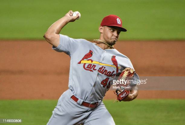 Jordan Hicks of the St. Louis Cardinals delivers a pitch in the ninth inning against the Miami Marlins at Marlins Park on June 10, 2019 in Miami,...