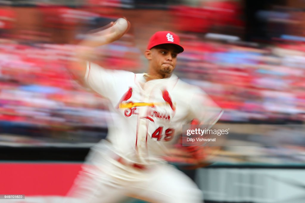 Jordan Hicks #49 of the St. Louis Cardinals pitches against the Cincinnati Reds in the eighth inning at Busch Stadium on April 21, 2018 in St. Louis, Missouri.