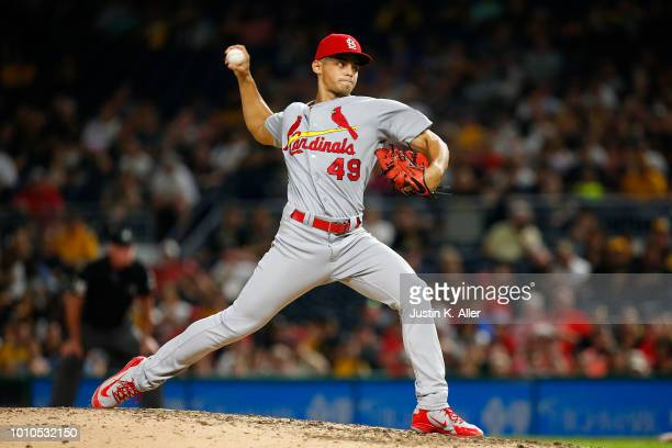 Jordan Hicks of the St Louis Cardinals pitches in the eighth inning against the Pittsburgh Pirates at PNC Park on August 3 2018 in Pittsburgh...