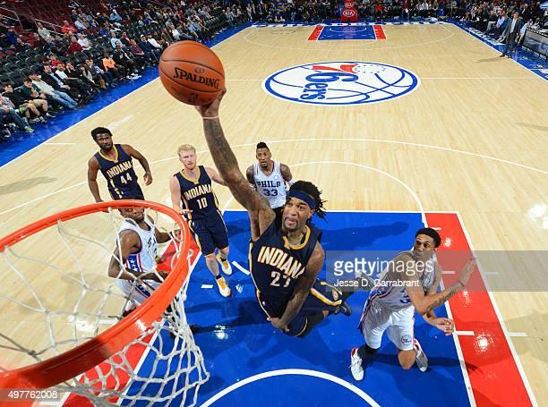 Jordan Hill of the Indiana Pacers dunks the ball against the Philadelphia 76ers at Wells Fargo Center on November 18 2015 in Philadelphia...