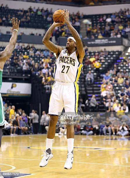 Jordan Hill of the Indiana Pacers shoots the ball during the game against the Boston Celtics at Bankers Life Fieldhouse on November 4 2015 in...