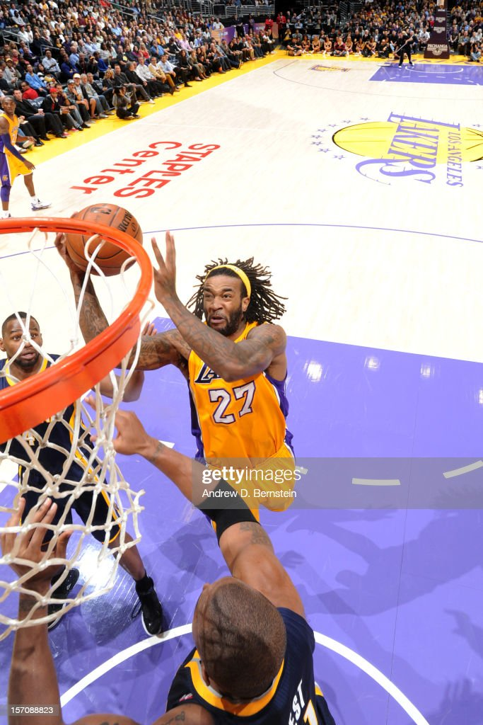 Jordan Hill #27 of the Los Angeles Lakers drives to the basket against the Indiana Pacers at Staples Center on November 27, 2012 in Los Angeles, California.