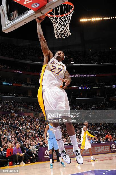 Jordan Hill of the Los Angeles Lakers rises for a dunk against the Denver Nuggets at Staples Center on January 6 2013 in Los Angeles California NOTE...