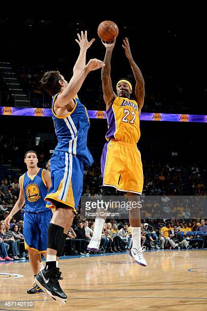 Jordan Hill of the Los Angeles Lakers shoots the jumper during the game against the Golden State Warriors on October 12 2014 at Citizens Business...