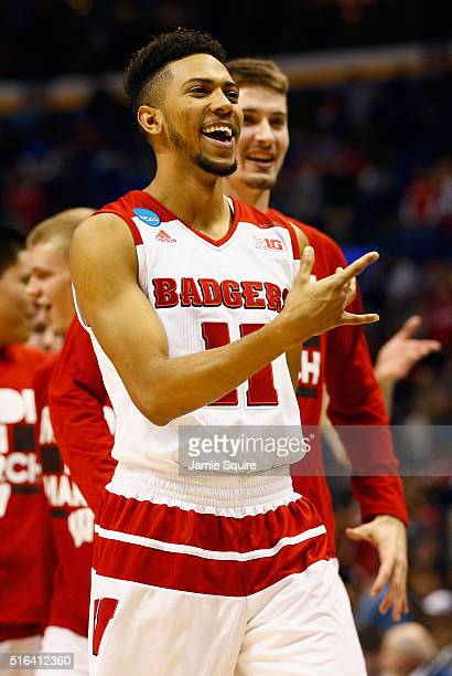 Jordan Hill of the Wisconsin Badgers celebrates defeating the Pittsburgh Panthers 47-43 during the first round of the 2016 NCAA Men's Basketball...