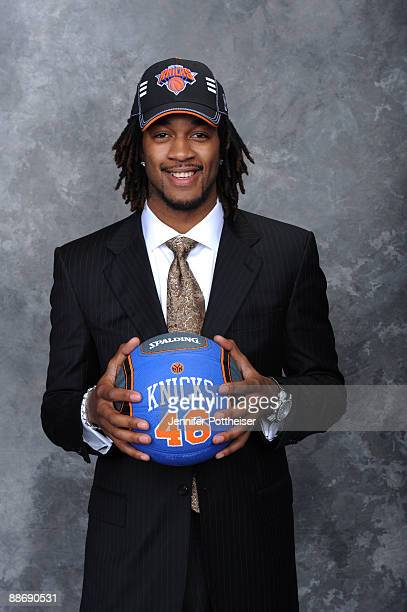 Jordan Hill selected number eight overall by the New York Knicks poses for a portrait during the 2009 NBA Draft on June 25 2009 at the WaMu Theatre...