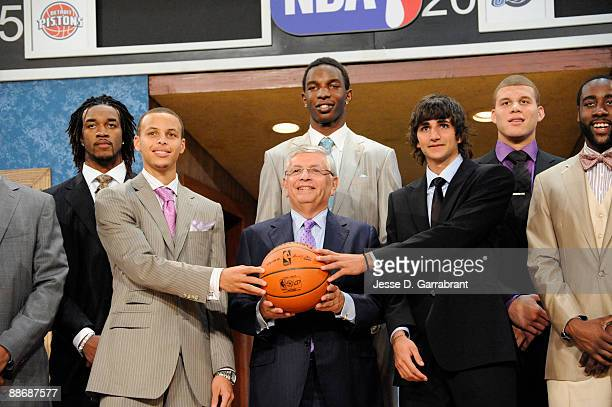 Jordan Hill, Stephen Curry, Hasheem Thabeet, NBA Commissioner David Stern, Ricky Rubio, Blake Griffin and James Harden pose for a portrait during the...