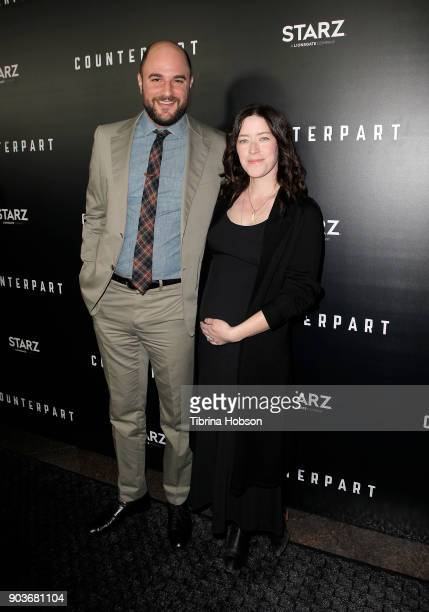 Jordan Horowitz and Julia Hart attend the premiere of Starz's 'Counterpart' at Directors Guild of America on January 10 2018 in Los Angeles California