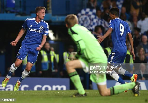 Jordan Houghton of Chelsea celebrates with teammate Dominic Solanke after scoring the team's second goal of the game during the FA Youth Cup Final...