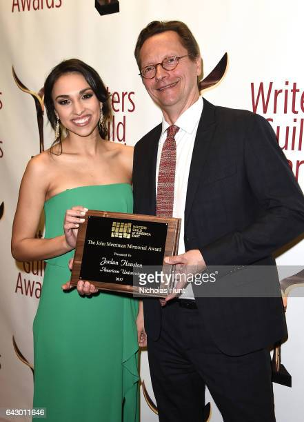 Jordan Houston and Lowell Peterson pose backstage with award during 69th Writers Guild Awards New York Ceremony at Edison Ballroom on February 19...