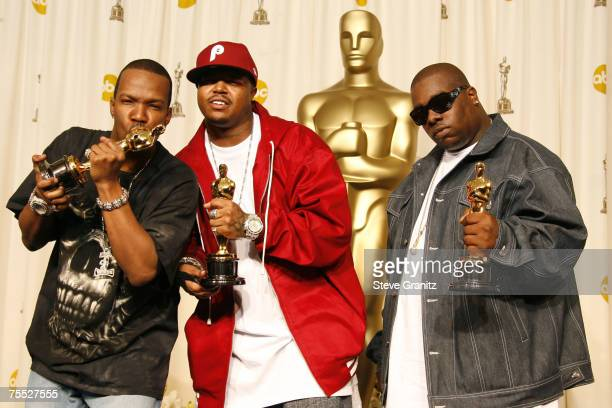 Jordan Houston Paul Beauregard and Cedric Coleman of Three 6 Mafia winners Best Song for It's Hard Out Here for a Pimp from Hustle Flow during the...