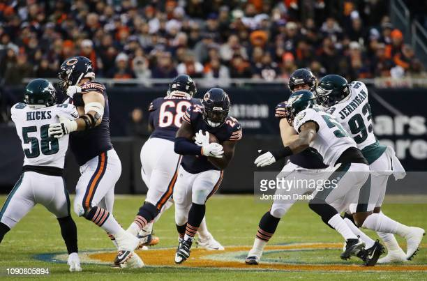 Jordan Howard of the Chicago Bears carries the ball against the Philadelphia Eagles in the first half of the NFC Wild Card Playoff game at Soldier...
