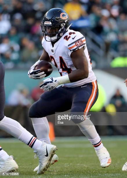 Jordan Howard of the Chicago Bears carries the ball in the second half against the Philadelphia Eagles on November 26 2017 at Lincoln Financial Field...