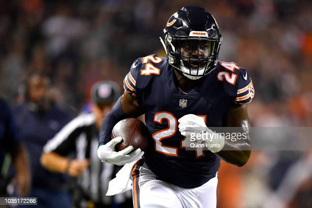 Jordan Howard of the Chicago Bears carries the football in the first half against the Seattle Seahawks at Soldier Field on September 17 2018 in...