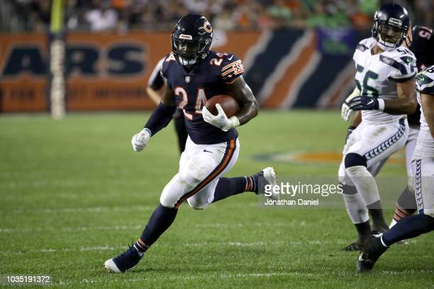 Jordan Howard of the Chicago Bears carries the football in the fourth quarter against the Seattle Seahawks at Soldier Field on September 17 2018 in...