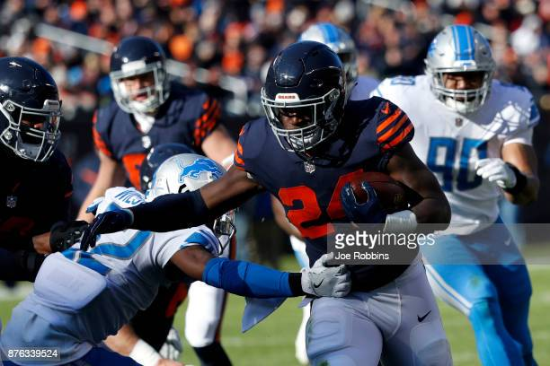 Jordan Howard of the Chicago Bears carries the football in the second quarter against the Detroit Lions at Soldier Field on November 19 2017 in...