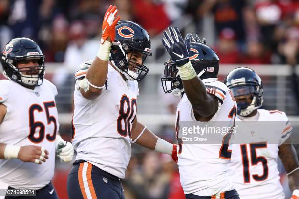 Jordan Howard of the Chicago Bears celebrates after scoring against the San Francisco 49ers during their NFL game at Levi's Stadium on December 23...
