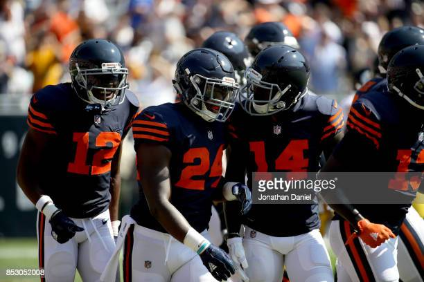 Jordan Howard of the Chicago Bears celebrates with Markus Wheaton and Deonte Thompson after scoring a touchdown against the Pittsburgh Steelers in...