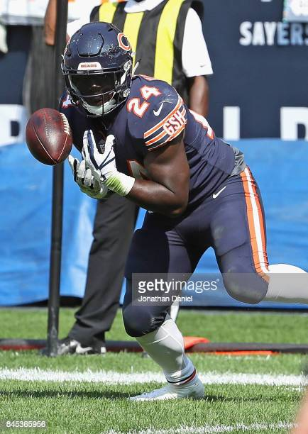 Jordan Howard of the Chicago Bears drops a pass near the goal line late against the Atlanta Falcons during the season opening game at Soldier Field...