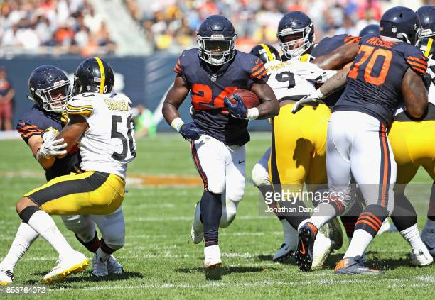 Jordan Howard of the Chicago Bears finds a hole to run through against the Pittsburgh Steelers at Soldier Field on September 24 2017 in Chicago...