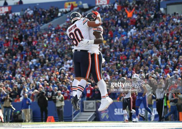 Jordan Howard of the Chicago Bears is congratulated by Trey Burton after scoring a touchdown in the second quarter during NFL game action against the...