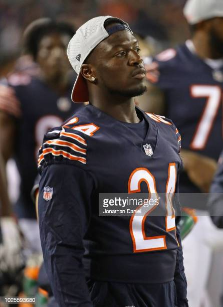 Jordan Howard of the Chicago Bears is seen on the sidelines during a preseason game against the Buffalo Bills at Soldier Field on August 30 2018 in...