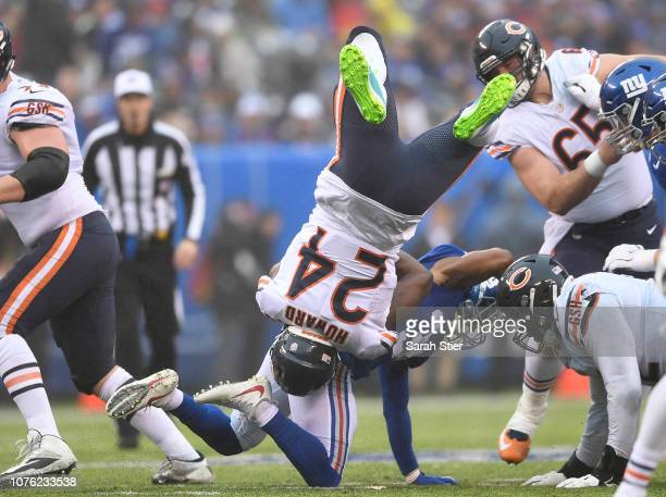 Jordan Howard of the Chicago Bears is tackled by Grant Haley of the New York Giants during the second quarter at MetLife Stadium on December 02 2018...