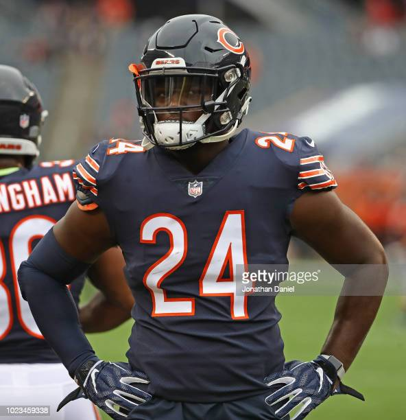 Jordan Howard of the Chicago Bears particiaptes in warmups before a preseason game against the Kansas City Chiefs at Soldier Field on August 25 2018...