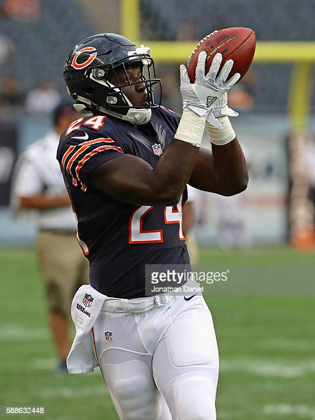 Jordan Howard of the Chicago Bears participates in warmups efore a game against the Denver Broncos at Soldier Field on August 11 2016 in Chicago...