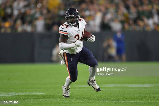 Jordan Howard of the Chicago Bears runs for yards during a game against the Green Bay Packers at Lambeau Field on September 9 2018 in Green Bay...