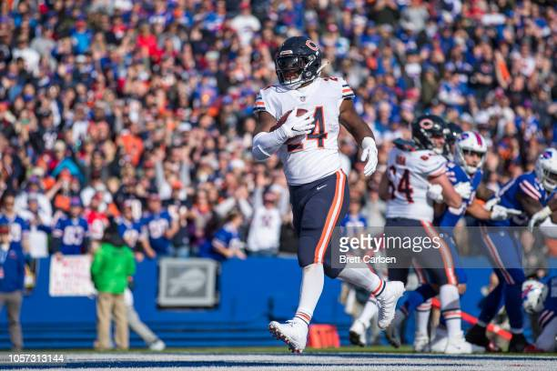 Jordan Howard of the Chicago Bears runs the ball in for a touchdown during the second quarter against the Buffalo Bills at New Era Field on November...