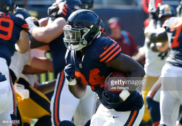 Jordan Howard of the Chicago Bears runs the football toward the endzone for a touchdown in overtime against the Pittsburgh Steelers at Soldier Field...