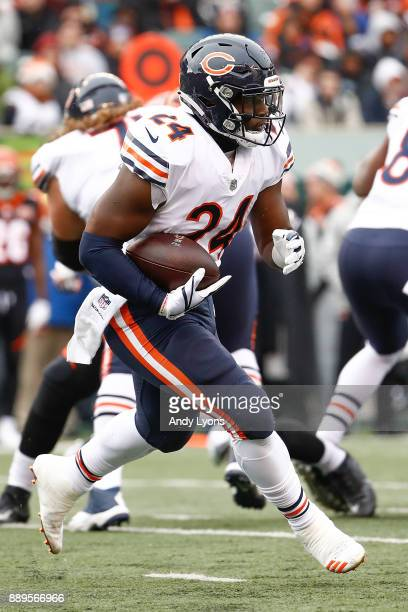 Jordan Howard of the Chicago Bears runs with the ball against the Cincinnati Bengals during the first half at Paul Brown Stadium on December 10 2017...
