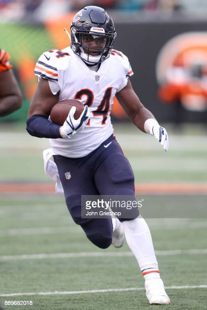 Jordan Howard of the Chicago Bears runs with the ball against the Cincinnati Bengals during the second half at Paul Brown Stadium on December 10 2017...