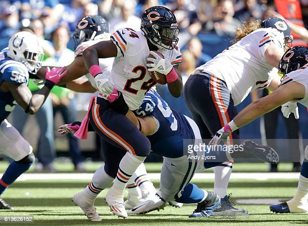 Jordan Howard of the Chicago Bears runs with the ball during the game against the Indianapolis Colts at Lucas Oil Stadium on October 9 2016 in...