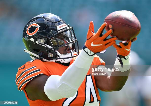 Jordan Howard of the Chicago Bears warming up before the game against the Miami Dolphins at Hard Rock Stadium on October 14 2018 in Miami Florida