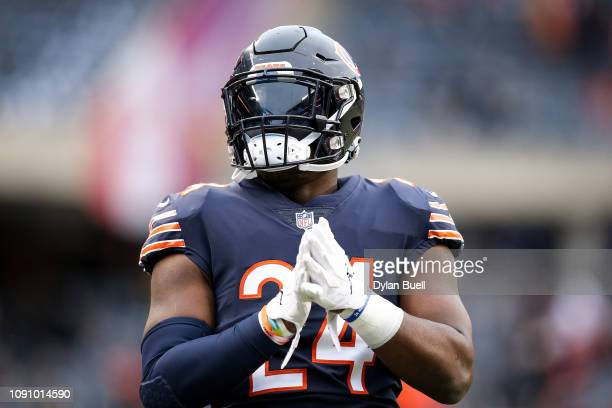 Jordan Howard of the Chicago Bears warms up before the NFC Wild Card Playoff game against the Philadelphia Eagles at Soldier Field on January 06 2019...