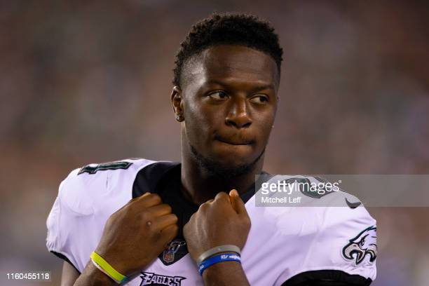 Jordan Howard of the Philadelphia Eagles looks on from the sidelines in the second quarter against the Tennessee Titans in the preseason game at...
