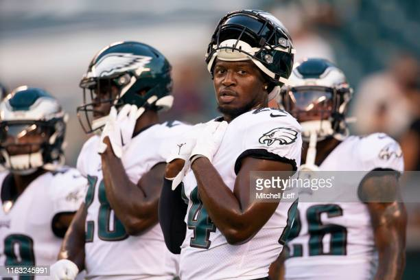Jordan Howard of the Philadelphia Eagles looks on prior to the preseason game against the Baltimore Ravens at Lincoln Financial Field on August 22,...