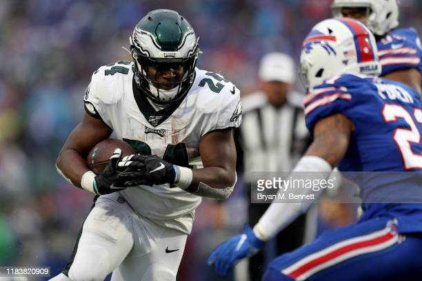 Jordan Howard of the Philadelphia Eagles runs the ball during the fourth quarter of an NFL game against the Buffalo Bills during the second half of...