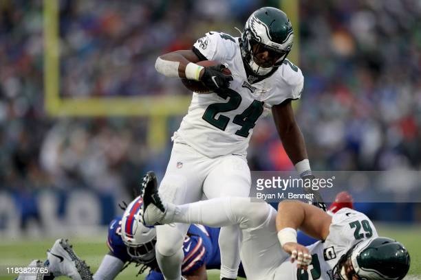 Jordan Howard of the Philadelphia Eagles runs the ball during the third quarter of an NFL game against the Buffalo Bills at New Era Field on October...