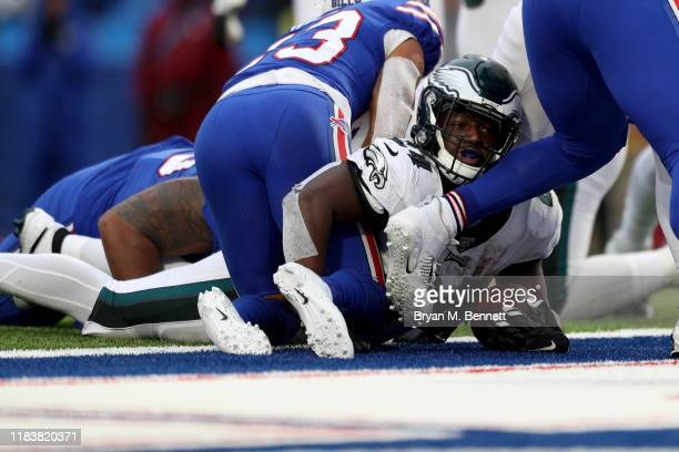 Jordan Howard of the Philadelphia Eagles scores a touchdown during the fourth quarter of an NFL game against the Buffalo Bills at New Era Field on...