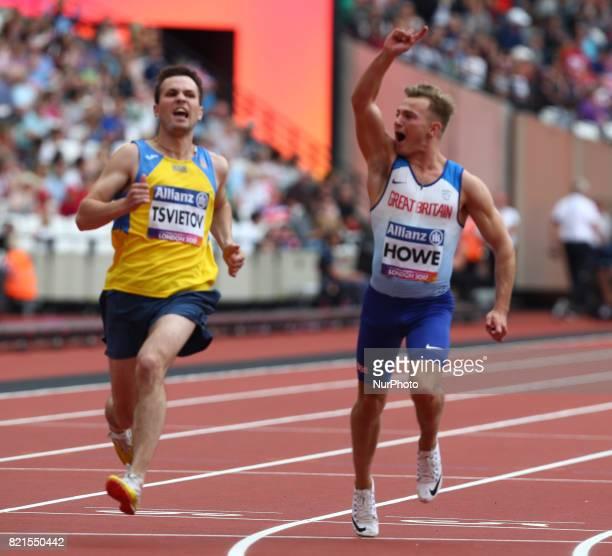 Jordan Howe of Great Britain Man's 100m T35 Final during World Para Athletics Championships at London Stadium in London on July 23 2017