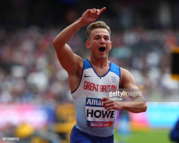 Jordan Howe of Great Britain Man's 100m T35 Final during World Para Athletics Championships at London Stadium in London on July 23 2017